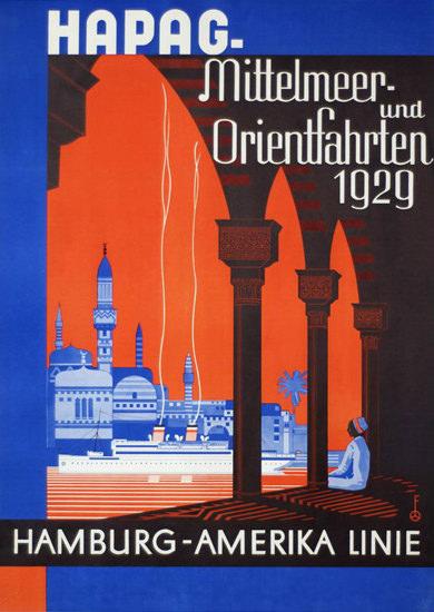 Hamburg-Amerika Linie Mittelmeer-Orient 1929   Vintage Travel Posters 1891-1970