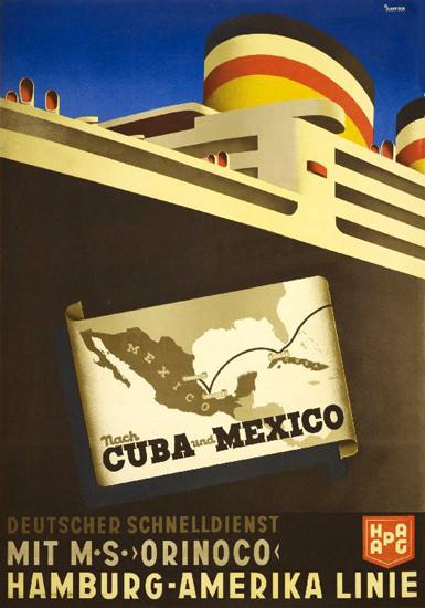 Hamburg-Amerika Linie Nach Cuba Mexico 1935 | Vintage Travel Posters 1891-1970