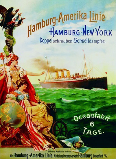 Hamburg-Amerika Linie New York Dampfer 1897 | Vintage Travel Posters 1891-1970