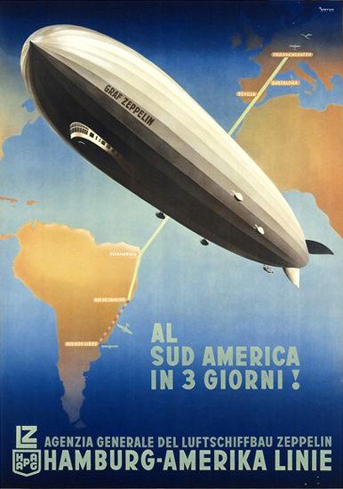 Hamburg-Amerika Linie SudAmerica Zeppelin 1936 | Vintage Travel Posters 1891-1970