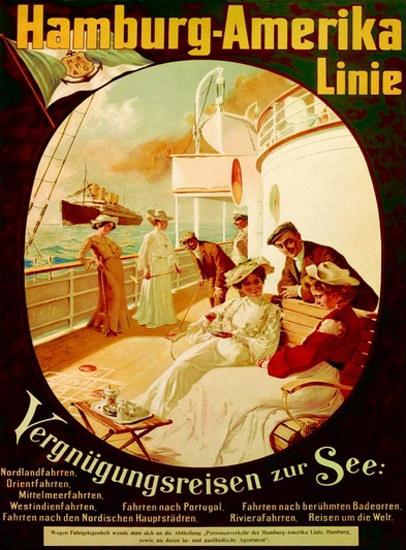 Hamburg-Amerika Linie Vergnuegungsreisen 1904   Vintage Travel Posters 1891-1970