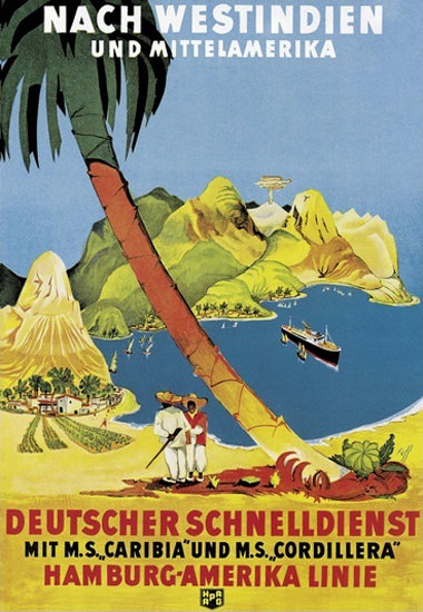 Hamburg-Amerika Westindien Caribia Cordillera | Vintage Travel Posters 1891-1970