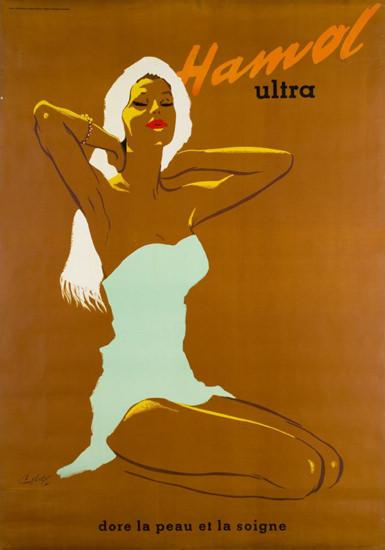Hamol Ultra Dore La Peau 1958 Suntan Cream | Sex Appeal Vintage Ads and Covers 1891-1970