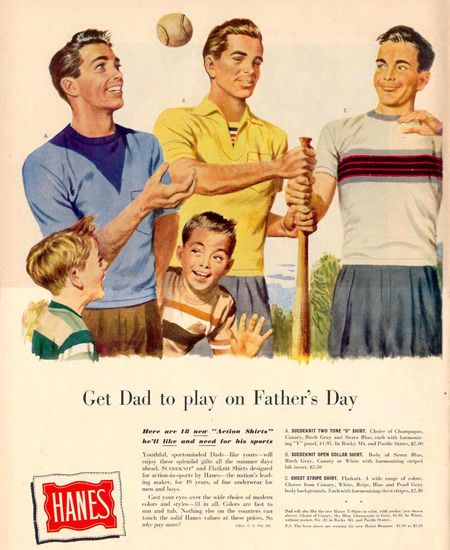 Hanes Baseball Fathers Day 1950 | Vintage Ad and Cover Art 1891-1970
