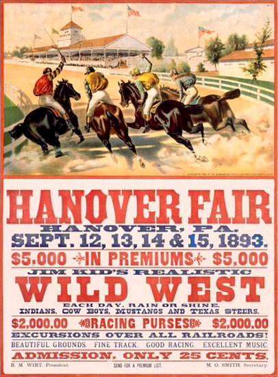 Hanover Fair PA Wild West 1893 | Vintage Ad and Cover Art 1891-1970