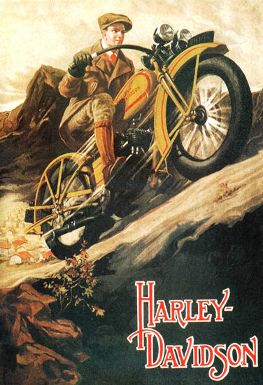 Harley Davidson In The Mountains | Vintage Travel Posters 1891-1970