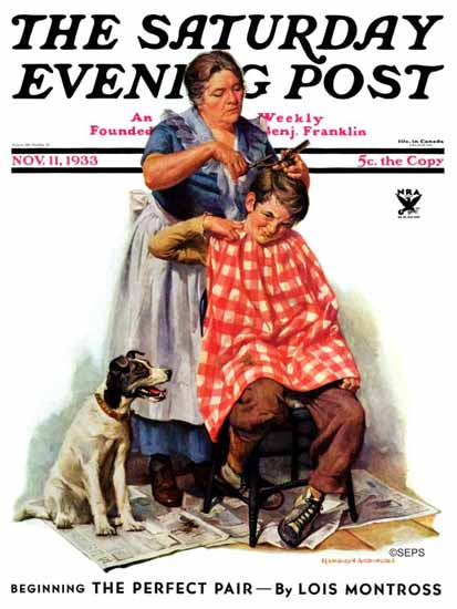 Harold Anderson Saturday Evening Post Kitchen Haircut 1933_11_11 | The Saturday Evening Post Graphic Art Covers 1931-1969
