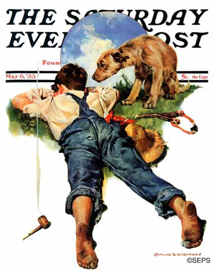 Harold Anderson Saturday Evening Post Sick of Smoking 1933_05_06 | The Saturday Evening Post Graphic Art Covers 1931-1969