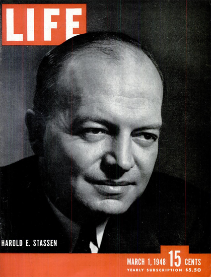 Harold E Stassen 1 Mar 1948 Copyright Life Magazine | Life Magazine BW Photo Covers 1936-1970
