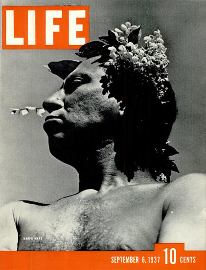 Harpo Marx 6 Sep 1937 Copyright Life Magazine | Life Magazine BW Photo Covers 1936-1970