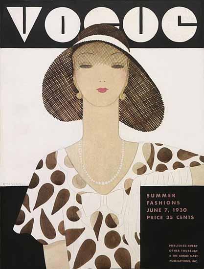 Harriet Meserole Vogue Cover 1930-06-07 Copyright | Vogue Magazine Graphic Art Covers 1902-1958