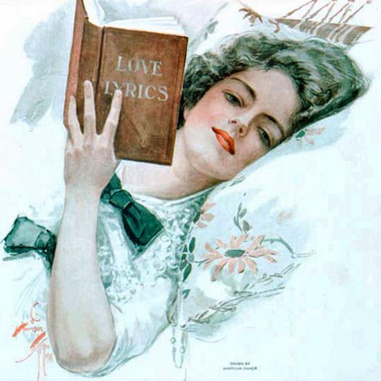 Harrison Fisher Saturday Eve Post Love Lyrics 1911_08_05 Copyright crop | Best of Vintage Cover Art 1900-1970