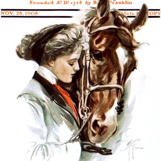 Harrison Fisher Saturday Evening Post 1908_11_28 Copyright crop | Best of Vintage Cover Art 1900-1970