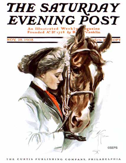 Harrison Fisher Saturday Evening Post 1908_11_28 | The Saturday Evening Post Graphic Art Covers 1892-1930
