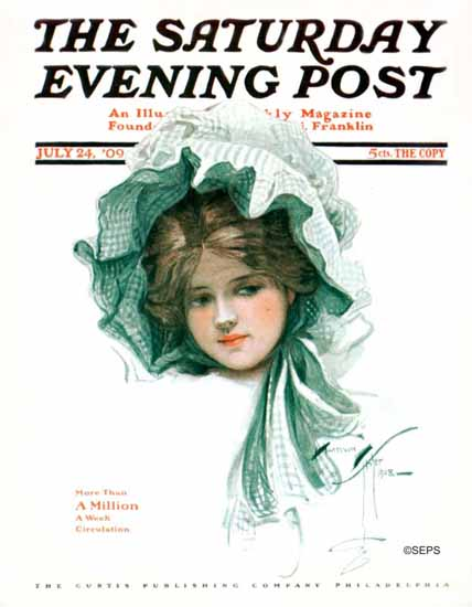 Harrison Fisher Saturday Evening Post 1909_07_24 | The Saturday Evening Post Graphic Art Covers 1892-1930