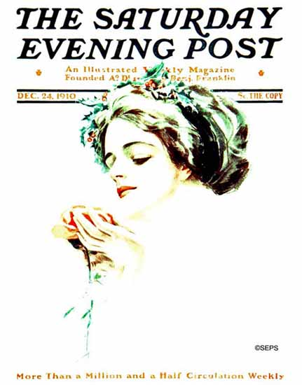 Harrison Fisher Saturday Evening Post 1910_12_24   The Saturday Evening Post Graphic Art Covers 1892-1930