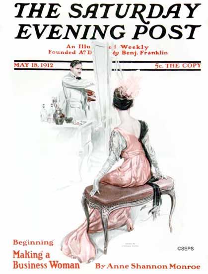 Harrison Fisher Saturday Evening Post Business Woman 1912_05_18 | The Saturday Evening Post Graphic Art Covers 1892-1930
