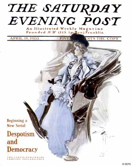 Harrison Fisher Saturday Evening Post Despotism Democracy 1903_04_18 | The Saturday Evening Post Graphic Art Covers 1892-1930