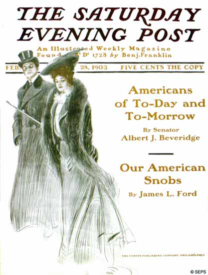 Harrison Fisher Saturday Evening Post Our American Snobs 1903_02_28   The Saturday Evening Post Graphic Art Covers 1892-1930