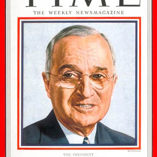 Harry S Truman Time Magazine 1951-04 by Boris Chaliapin crop | Best of Vintage Cover Art 1900-1970