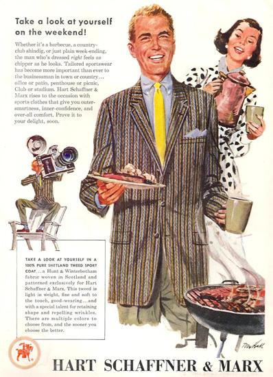 Hart Schaffner Marx Shetland Sport Coat 1956 | Sex Appeal Vintage Ads and Covers 1891-1970