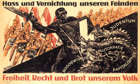 Hass Und Vernichtung Unseren Feinden Hate   Vintage War Propaganda Posters 1891-1970
