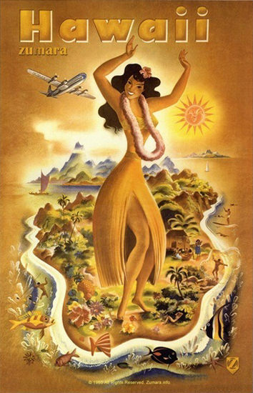 Hawaii Dancing Girl On The Island Map | Sex Appeal Vintage Ads and Covers 1891-1970