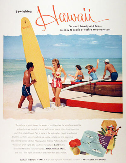 Hawaii Surfing Tourism Bewiching 1954 | Sex Appeal Vintage Ads and Covers 1891-1970