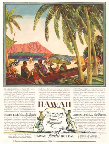 Hawaii The Worlds Enchanted Island Playground | Vintage Travel Posters 1891-1970