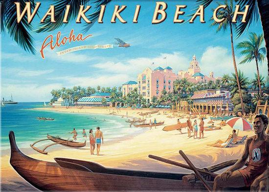 Hawaii Waikiki Beach Aloha Inter Island Airways | Vintage Travel Posters 1891-1970