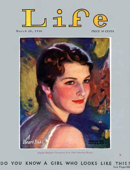 Hayden Hayden Life Magazine A Heart Bid 1930-03-28 Copyright   Life Magazine Graphic Art Covers 1891-1936