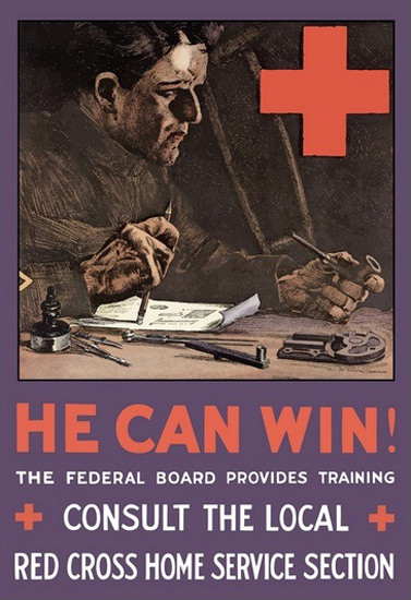 He Can Win Red Cross Home Service Section | Vintage War Propaganda Posters 1891-1970