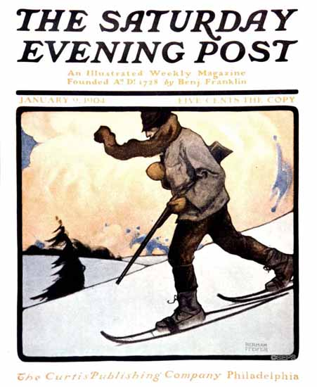 Heinrich Pfeifer Saturday Evening Post Winter Hunting 1904_01_09 | The Saturday Evening Post Graphic Art Covers 1892-1930