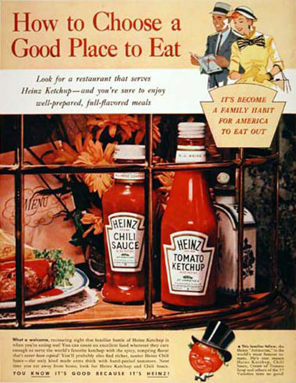 Heinz Ketchup 1955 A Good Place To Eat | Vintage Ad and Cover Art 1891-1970