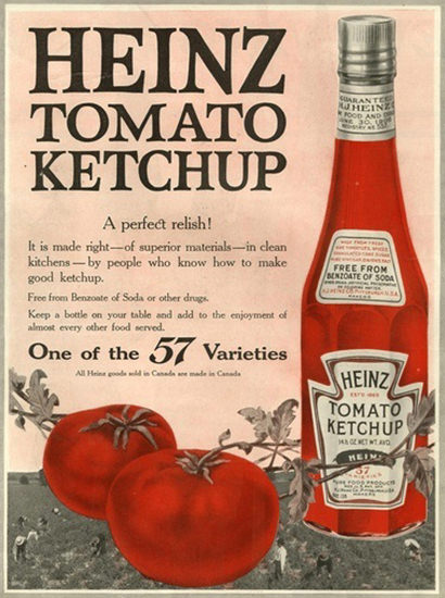 Heinz Tomato Ketchup 57 Varieties Perfect Relish | Vintage Ad and Cover Art 1891-1970
