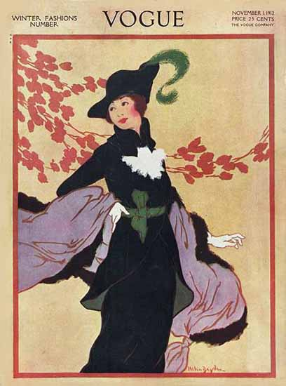Helen Dryden Vogue Cover 1912-11-01 Copyright | Vogue Magazine Graphic Art Covers 1902-1958