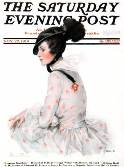 Helen Thurlow Saturday Evening Post Cover Art 1919_11_22 | The Saturday Evening Post Graphic Art Covers 1892-1930
