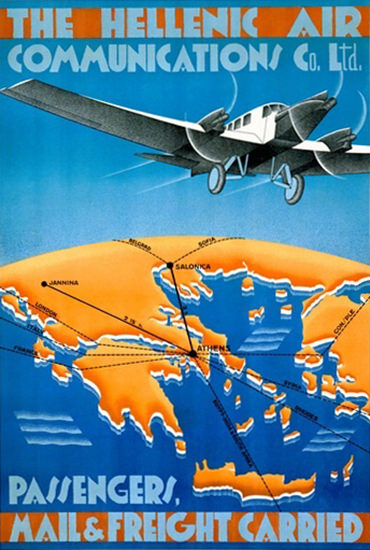 Hellenic Air Passengers Mail Freight Greece | Vintage Travel Posters 1891-1970