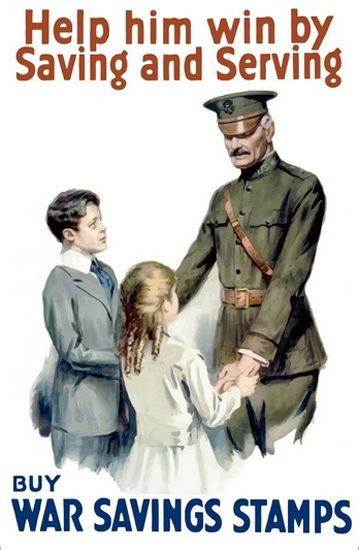 Help Him Win By Saving And Serving War Savings | Vintage War Propaganda Posters 1891-1970