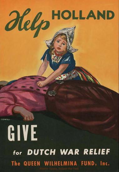 Help Holland Dutch War Relief Queen Wilhelmina | Vintage War Propaganda Posters 1891-1970