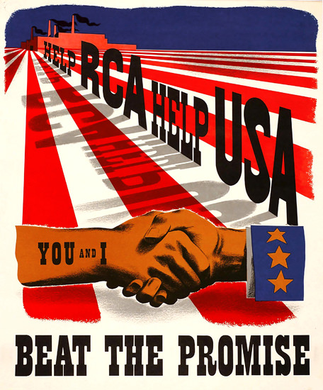 Help RCA Help USA Beat The Promise | Vintage War Propaganda Posters 1891-1970