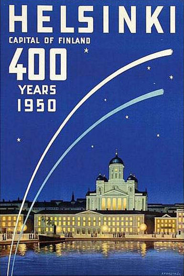 Helsinki Capital Of Finland 400 Years 1950 | Vintage Travel Posters 1891-1970