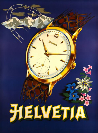 Helvetia Watches Switzerland 1943 | Vintage Ad and Cover Art 1891-1970