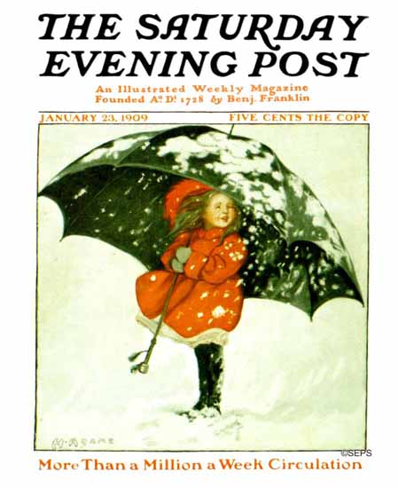Henrietta Adams Saturday Evening Post Cover Art 1909_01_23 | The Saturday Evening Post Graphic Art Covers 1892-1930