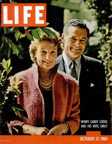 Henry Cabot Lodge and Wife Emily 17 Oct 1960 Copyright Life Magazine | Life Magazine Color Photo Covers 1937-1970