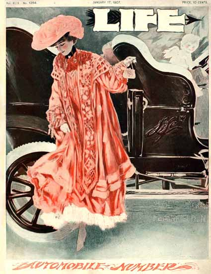 Henry Hutt Life Magazine Automobile Number 1907-01-17 Copyright | Life Magazine Graphic Art Covers 1891-1936