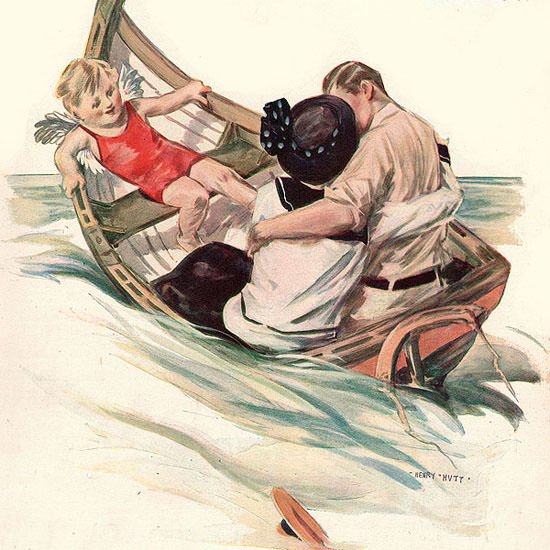 Henry Hutt Life Magazine Rocking The Boat 1914-08-13 Copyright crop | Best of 1891-1919 Ad and Cover Art