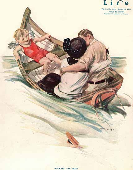 Henry Hutt Life Magazine Rocking The Boat 1914-08-13 Copyright | Life Magazine Graphic Art Covers 1891-1936