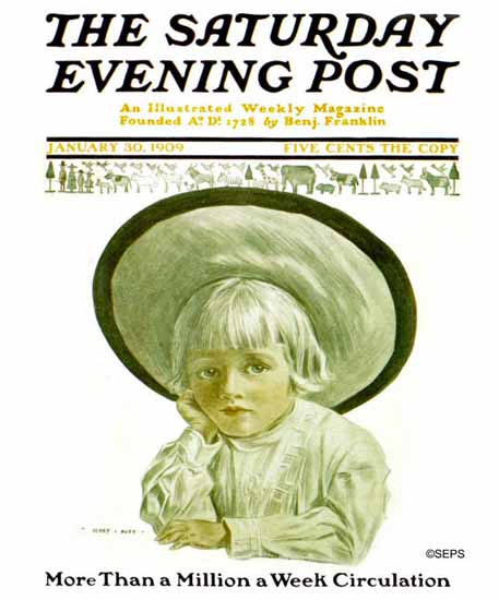 Henry Hutt Saturday Evening Post Cover Art 1909_01_30 | The Saturday Evening Post Graphic Art Covers 1892-1930