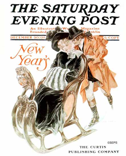 Henry Hutt Saturday Evening Post Cover Art New Year 1905_12_30 | The Saturday Evening Post Graphic Art Covers 1892-1930